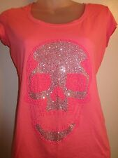 Phillipp Plein S verziert Shirt Top Strass Kristall Hot Pink Tee Authentic
