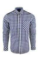 Dominic Stefano Buttoned Collar Check Smart Casual Mens - ( Navy - Shirt 387 ).