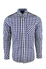 Dominic Stefano Buttoned Collar Check Smart Casual Mens Navy Shirt 387