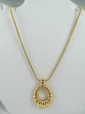NWT MONET GOLD TEXTURED OVAL PENDANT NECKLACE, Shiny, Detailed, Signed