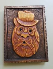 Green Man Pagan Spirit of Forest Hand Made Wood Carving 10 x 13cm