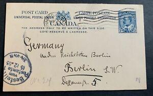 Canada 🇨🇦 1905 - used postal stationery postcard to Berlin