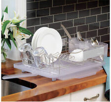 Polder Stainless Steel Slide Out Drying Tray 4 Piece Dish Rack Set. Silver/Clear