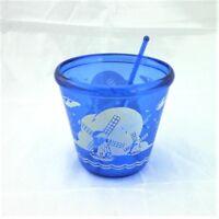 Windmill Hazel Atlas Cobalt Blue Depression Glass Cocktail Mixer Bowl w Stirrer