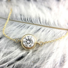 1.0Carat ct Round Moissanite Diamond Bezel Bracelet Chain 14k Yellow Gold Solid