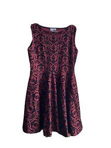 Womens Apricot Burgundy Red & Black Filigree Skater Dress Size 14 Lightly Worn