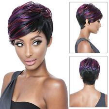 Ladies' Wig 25cm Black&Purple Short Wavy Pixie Hair Synthetic Full Wigs Party UK