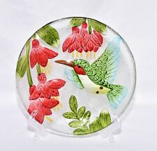 "New 8"" Colorful Hummingbird with Red Flowers Decorative Glass Plate & Stand"