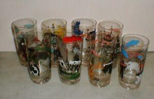 Vintage 1960's Libbey Famous World Cities Tumbers Glasses Set of 8 Paris-London