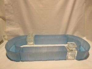 L.E. Smith Blue Oval Sectional #6150 Flower Trough with 2 Crystal Candle Holders