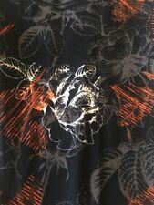LuLaRoe OS Rose Leggings White Gray Orange Black Background - Fall Colors