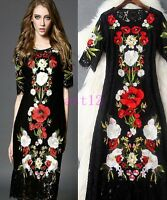 Elegant New Summer Italy high Womens Black Runway Lace Embroidered Floral Dress