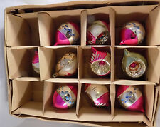 Lot 10 Vintage Pink Mercury Glass Ornaments Indent Teardrop Mica Poland