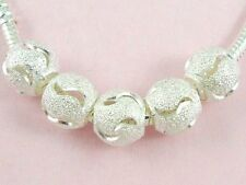 100pcs Silver Plated Carved Stardust Charms Bead Fit European Bracelet ST06
