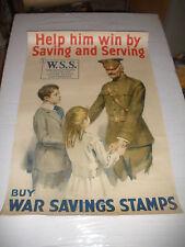 American WWl war savings stamps poster, circa 1918
