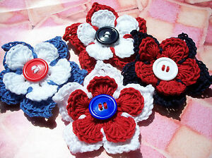 Crochet FLOWER with LEAVES Corsage/Brooch - JUBILEE / OLYMPICS - Red,White&Blues