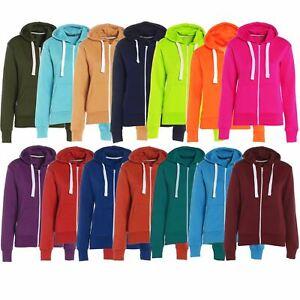 Ladies  Womens Hoodies Sweatshirt Plain Hoody Girls Zip Top Jacket Plus Size