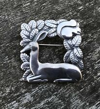 Rare & Important Deco Georg Jensen Sterling Silver Deer & Squirrel Brooch # 318