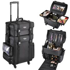 Soft Rolling Makeup Case Cosmetic Artist Salon Oxford Train Bag Trolley W/drawer