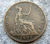 GREAT BRITAIN QUEEN VICTORIA 1891 ONE PENNY