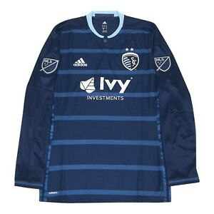 Sporting Kansas City Adidas Men's Navy Authentic On-Field Long Sleeve Jersey