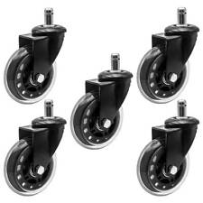 Set of 5 Office Chair Caster Pu Swivel Wheels Replacement Heavy Duty 3 inch