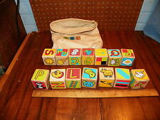 Vintage ABC Wood Alphabet Blocks w Cotton Bag                                  !