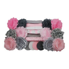 Pink & Gray - Mini DIY Flower Headband Kit - Baby Shower Station - Birthday
