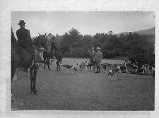 B454 Photo original vintage chasse à courre chien chasseur chevaux