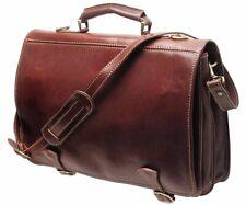 Cenzo Leather Messenger Bag Briefcase Satchel Brown (4010VUS)