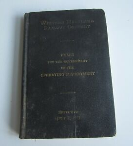 Old 1939 - WESTERN MARYLAND RAILWAY - Railroad RULE BOOK - Operating Dept.