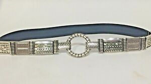 CHICO'S BELT SILVER TONE LINKS Size 34/36 BLACK LEATHER W STRETCH HOOK Closure