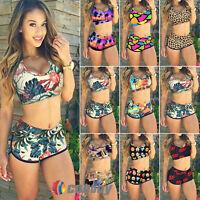 Womens Padded Sport Tankini Boy Shorts Swimwear Swimsuit Bikini Sets Beachwear