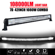42'' inch 1080W CURVED TRI-ROW LED WORK LIGHT BAR FLOOD SPOT COMBO OFF-ROAD 7D