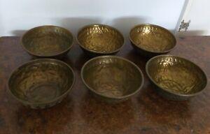 Set Of 6 Vintage Indian Brass Offering Bowls