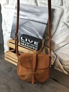 MASSIMO PALOMBA Whiskey Leather Logo Lined Shoulder CrossBody Handbag PreOwned