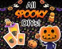 Animal Crossings New Horizon: - ALL Halloween DIYs ! 14 DIYS + 100 Pumpkins+Gift