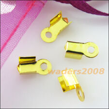 300 New Gold Silver Bronze Plated Fold Over End Cord Crimp Bead Caps 3x6mm