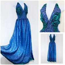 Women's Maxi Dress Size 14 16 100% Silk Boho Arty Festival Hippy Blue Green New