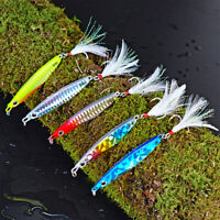 5pcs Laser Metal Micro Knife Jigs Fishing Lures Kingfish with 4# Feather Hooks