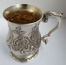 SUPERB LARGE DECORATIVE ENGLISH ANTIQUE VICTORIAN 1864 SOLID SILVER PINT TANKARD