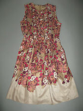 ETRO SILK SLEEVELESS DRESS WITH ALINE SKIRT FLORAL SIZE 48