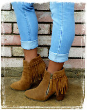 Women's Fringe Booties With Side Zipper(BrownB-001) Size-8.5