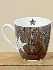 Jumbobecher Eleonor Jeansoptik Porzellan Tasse H 10 cm Kaffeetasse Teetasse