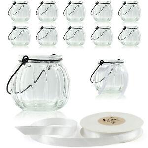 12 x Windlicht 7cm hoch mit Bügel und Dekoband weiß Teelichtglas Windlicht Glas