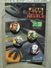 SDCC Comic Con 2014 EXCLUSIVE Star Wars REBELS Disney XD Button Pin set of 4