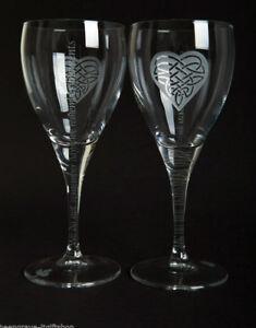 Pair Wine Glasses - 'Moments' - Engraved stem - Valentine's - Birthday Gift