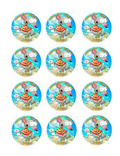 12 Edible CUPCAKE Toppers Frosting Circles Toopy & Binoo Icing Image