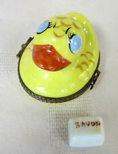 ROCHARD LIMOGES RUBBER DUCKY HAND PAINTED FRANCE BNIB PORCELAIN HINGED F/S