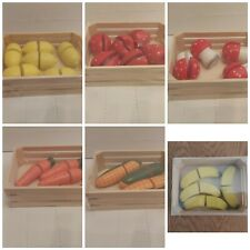 6 x Wooden Play Food in Crates, Pretend Play, Roleplay